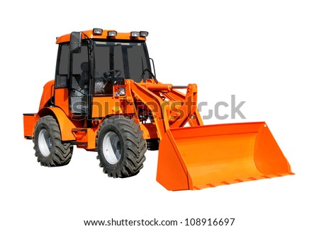 Front-end loader isolater over white background