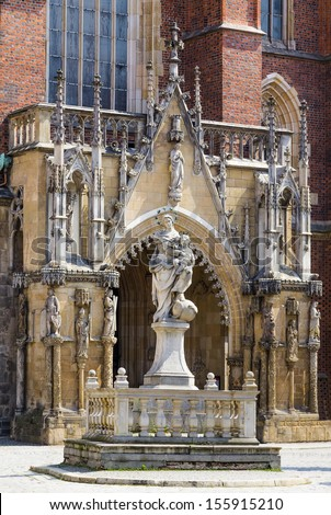 Front entrance to the Cathedral of St. John Baptist. Wroclaw. Poland - stock photo