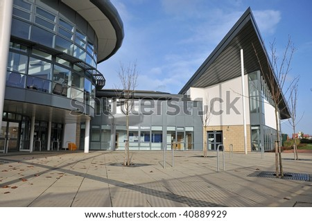 front entryway for a modern school - stock photo