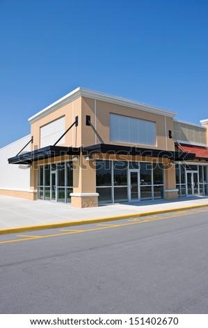 Front Facade of a Modern Commercial Building - stock photo