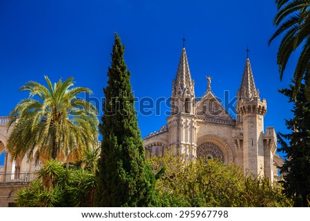 front facade of the gothic Church La Seu in Palma de Mallorca, Spain - stock photo