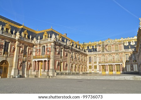 Front facade of Versailles Palace, France.