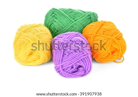 front focus Stack of yarn isolated on a white background.