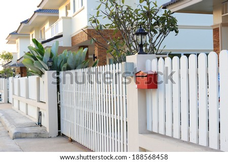 front gate a new house - stock photo