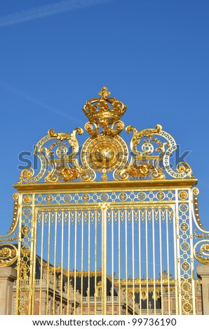 Front gate of the Palace of Versailles, France - stock photo