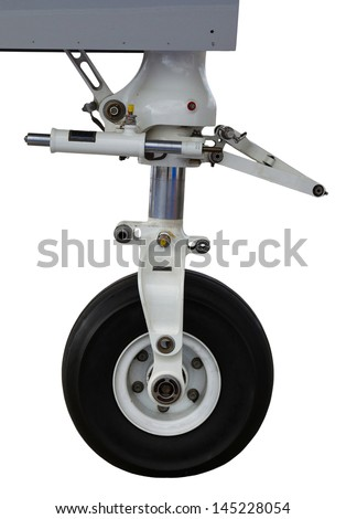 front landing gear light aircraft on the ground isolated on white - stock photo