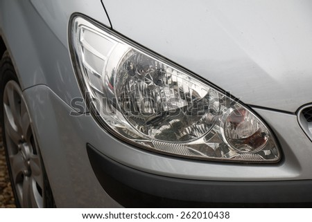 Front Light of Bronze Car