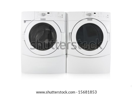 front load washer and dryer on white background