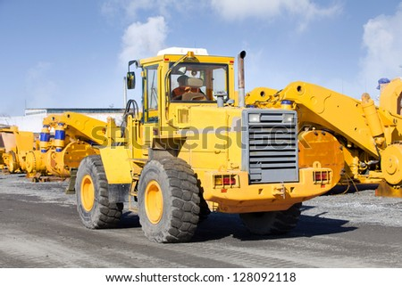 front loader the repair of heavy machinery stock - stock photo