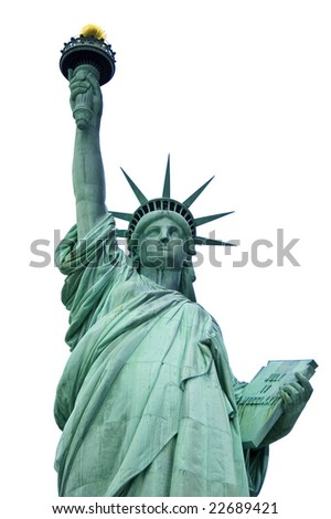 Front low angle view of Statue of Liberty isolated on white - stock photo
