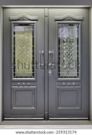 Front Metallic Aluminum Door Entrance - stock photo