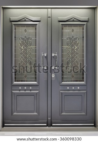 Front Metallic Aluminum Door Entrance - stock photo