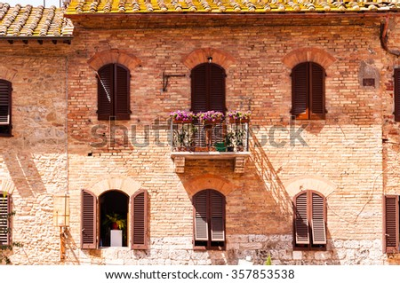 front of a building in tuscany - stock photo