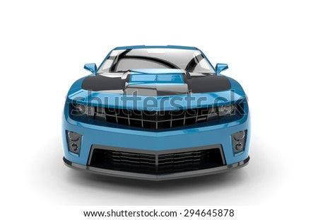 Front of a generic blue sport car isolated on a white background