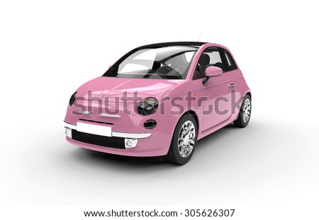 Front of a generic pink city car isolated on a white background