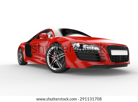 Charming Front Of A Generic Red Sport Car Isolated On A White Background Amazing Ideas