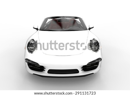 Front of a generic white sport car isolated on a white background