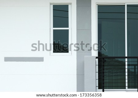 front of a new modern townhouse - stock photo