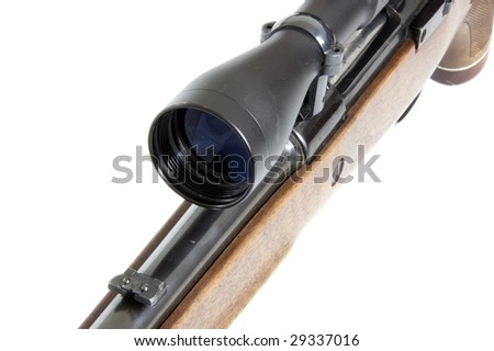 Front of a riflescope, isolated on white - stock photo