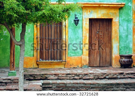 front of an old house - stock photo