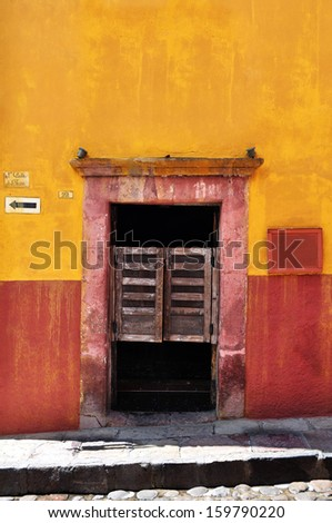Front of an old mexican cantina - bar - San Miguel de Allende Mexico - stock photo