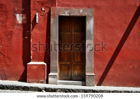 Front of an old mexican house - Colonial style door - San Miguel de Allende Mexico - stock photo