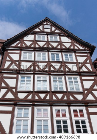 Front of an wonderful old half-timbered house in a village in Fritzlar, in Germany near Kassel in Hesse