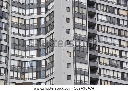 Front of beautiful residential building - stock photo