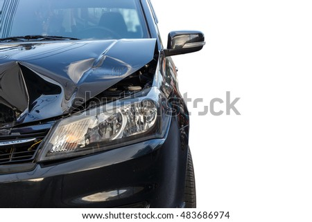Front of black car get damaged by accident. Isolated on white background. Saved with clipping path