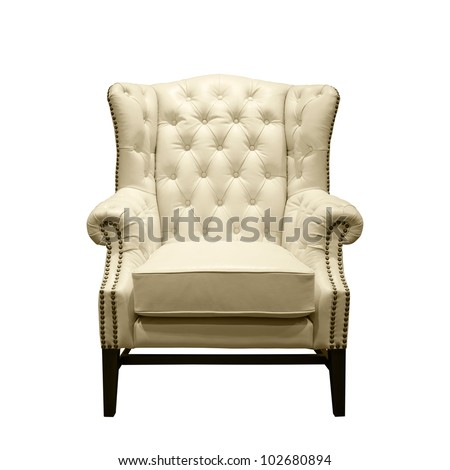 Front of Classic Chesterfield luxury White Leather armchair on White - stock photo