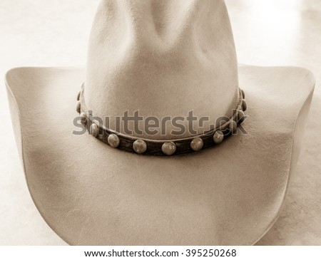Front of cowboy hat with leather band - stock photo