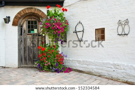 Front of English House - stock photo