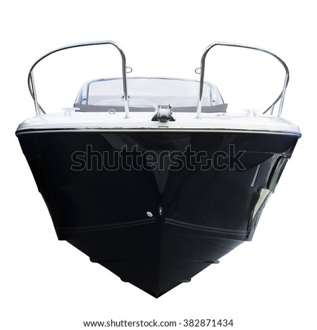 Front of motor boat. Isolated over white background - stock photo