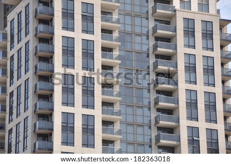 Front of newly built residential building - stock photo