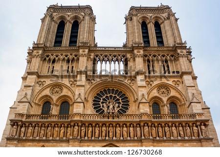 Front of Notre dame. Paris city - stock photo