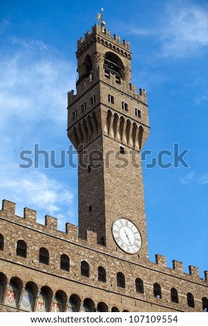 Front of Palazzo Vecchio and the clock tower on Piazza della Signoria, Florence, Tuscany - stock photo