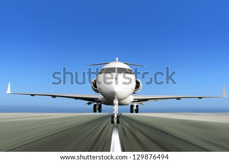 Front of Private Jet Plane Taking off with Motion Radial  Blur - stock photo