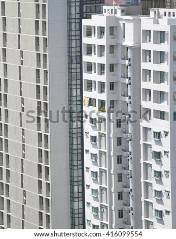 Front of residential buildings - stock photo