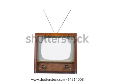 Front of 1960's old television isolated on white with isolated screen - stock photo