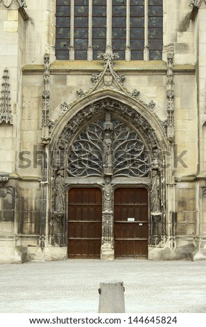 front of Saint Remi Basilica in Reims, France
