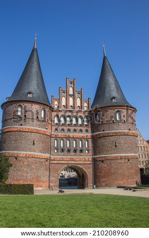 Front of the Holsten gate in Lubeck, Germany - stock photo