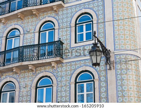 Front of the house, decorated tiles, Lisbon, Portugal - stock photo