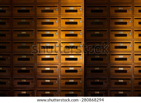 Front of wooden locker apartment, Still life color tone