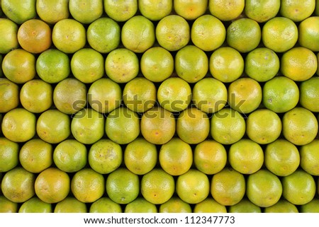 Front or Top view of organized oranges