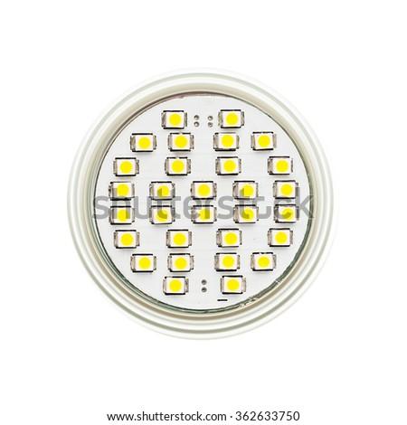 Front part of LED lamp. LED closeup shot.  Isolated on white background. - stock photo