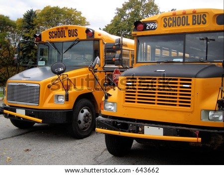 front part of parked school buses