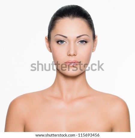 Front portrait of the woman with beauty face - isolated on white