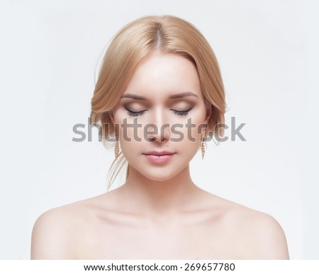 Front portrait of the woman with beauty face - isolated on white - stock photo