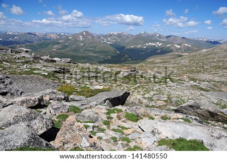 Front Range from Mount Evans, Colorado Rockies, Rocky Mountains - stock photo