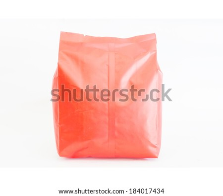Front red Foil Packaging Plastic Pack  Snack Product Packing isolate white background - stock photo